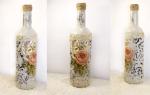 Декор бутылок шпаклевкой