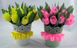 Как сделать тюльпаны из гофрированной бумаги?