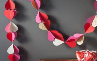 Как сделать гирлянду из сердечек из бумаги?