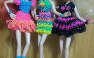 Как сделать из резинок платье для куклы?