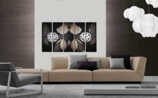 Как повесить модульную картину из 5 частей на стену?