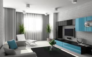 Дизайн гостиной – серые стены и паркет